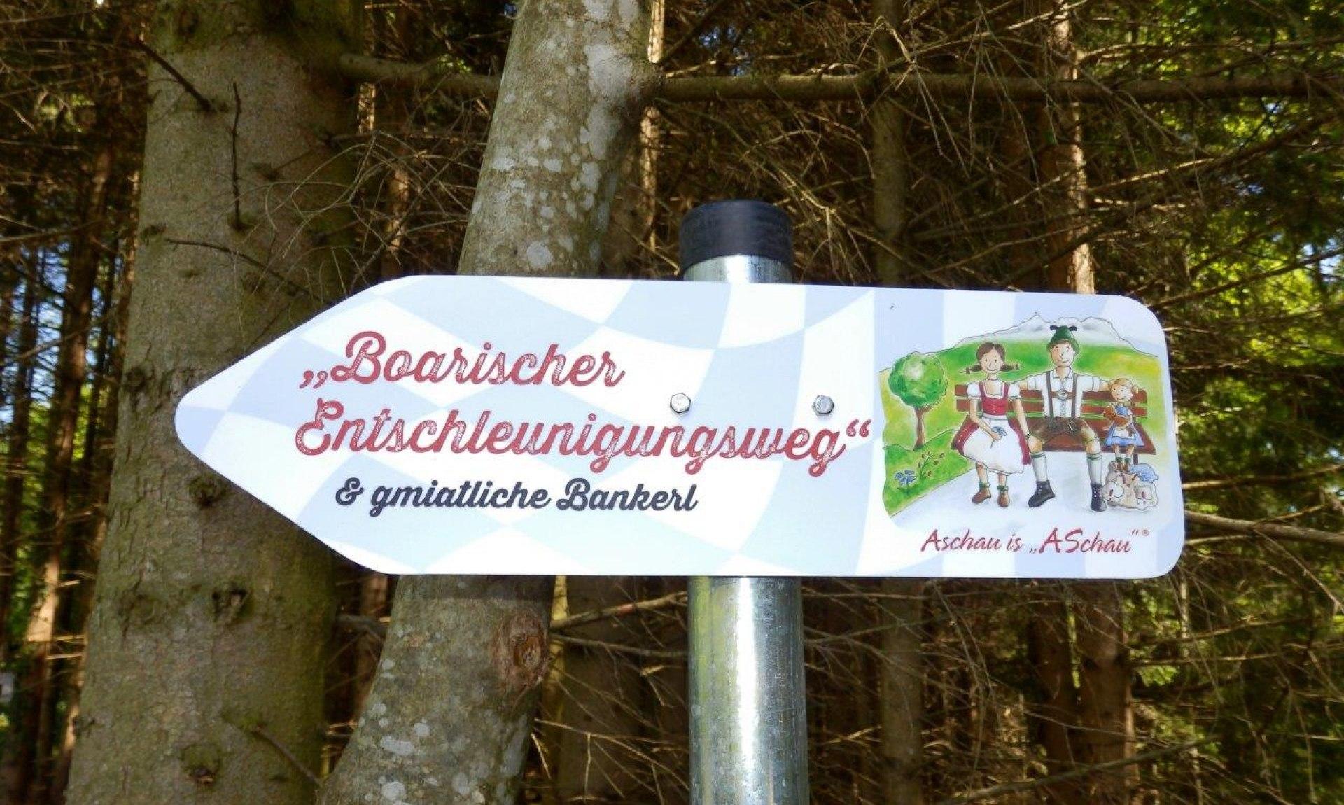 Schild Entschleunigungsweg, © Tourist Info Aschau i.Ch.
