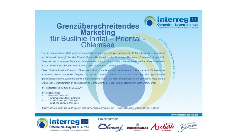 Grenzüberschreitendes Marketing für die Buslinie Inntal-Priental-Chiemsee.